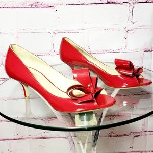 Valentino Red Patent Leather Kitten Heels